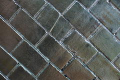 Silver brick wall Stock Photo