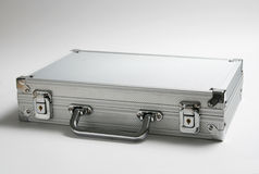 Silver briefcase Stock Images