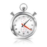 Silver bright stopwatch clock with reflection, Royalty Free Stock Image