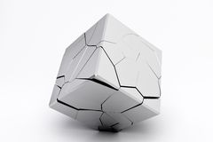 Silver broken cube Stock Photography