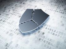 Silver broken shield on digital background. 3d render Stock Images
