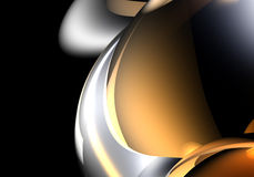 Silver&bronce spheres. A Study of Form&Colors, rendered in Bryce Royalty Free Stock Image