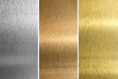 Silver, bronze, brass or golden textures. Aluminum, bronze and brass stitched textures royalty free stock images