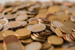 Silver and Bronze Coins Stock Photography