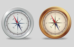 Silver and bronze compasses Royalty Free Stock Photos