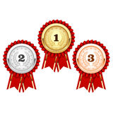 Silver, bronze and golden medals  - award. Rosette Royalty Free Stock Photos