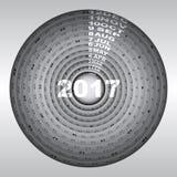 Silver bronze rings design template of 2017 calendar. Stock vector Stock Photo