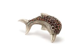 Silver brooch stock photography