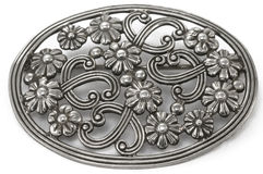 Silver brooch Stock Photo