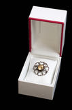 Silver brooch in white box Royalty Free Stock Photos