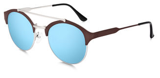 Silver and brown sunglasses blue mirror lenses isolated on white Stock Photo