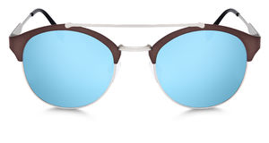 Silver and brown sunglasses blue mirror lenses isolated on white Royalty Free Stock Photos