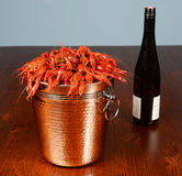 Silver bucket of boiled crawfish Stock Photography