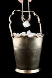 Silver bucket with ice Stock Images