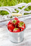Silver bucket of strawberries Stock Photo