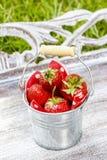 Silver bucket of strawberries Stock Photo