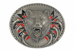 Silver buckle of head bear. Royalty Free Stock Images