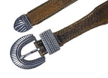 Silver buckle on leather belt Stock Image