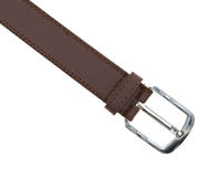 Silver buckle on a leather belt Royalty Free Stock Photos