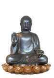 Silver Buddha. 3D render of a silver Buddha sitting in a golden lotus flower stock illustration