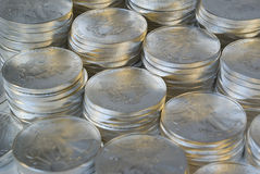 Silver Bullion. Stacks of one ounce American Eagle silver coins royalty free stock photo