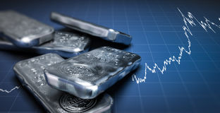 Silver Bullion Bars and Price Chart Royalty Free Stock Photo