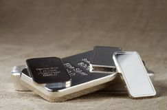 Silver bullion on a blurred background. stock photo