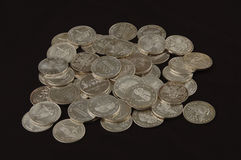 Silver bullion rounds Royalty Free Stock Photo