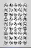 Silver business icons. Vector illustration of silver business icons in round frames Stock Photo