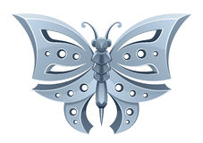 Silver butterfly. On a white background royalty free illustration