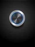 Silver button with glowing neon on black Stock Photo