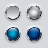 Silver button on gray background. Stock Images