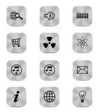 Silver button icons isolated Royalty Free Stock Image