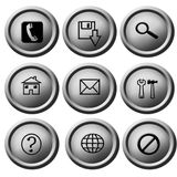 Silver button pack. 3d silver button pack for web Royalty Free Stock Image