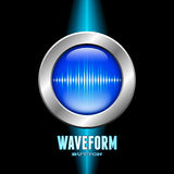 Silver button with sound wave sign Stock Photography