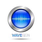 Silver button with sound wave sign. Silver button with blue sound wave sign Royalty Free Stock Photography