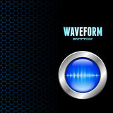 Silver button with sound wave sign. Silver button with blue sound wave sign on hex grid Stock Photo