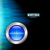 Silver button with sound wave sign and polar light Royalty Free Stock Photo