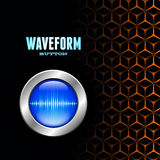 Silver button with sound wave sign on unusual grid Stock Photography