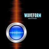 Silver button with sound waveform and orange wave. Silver button with sound or music waveform and orange wave Stock Image