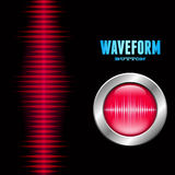 Silver button with sound waveform sign. Silver button with red sound or music wave sign Stock Image