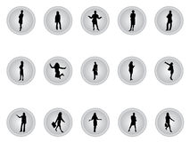 Silver buttons of businesswomen. Vector silver buttons of businesswomen in many positions Stock Photos