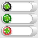 Silver buttons with cloverleaf Royalty Free Stock Images
