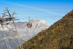 Silver cable car cabin in swiss alps Stock Photography