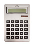 Silver calculator. Wit large display isolated with clipping path included Stock Photo