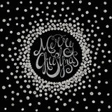 Silver calligraphic inscription Merry Christmas Royalty Free Stock Image