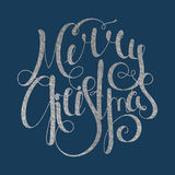 Silver calligraphic inscription Merry Christmas Stock Images