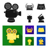 Silver camera. A bronze prize in the form of a TV and other types of prizes.Movie award,sset collection icons in black. Silver camera. A bronze prize in the form Stock Photo