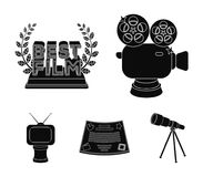 Silver camera. A bronze prize in the form of a TV and other types of prizes.Movie award,sset collection icons in black. Silver camera. A bronze prize in the form Royalty Free Stock Photography
