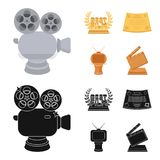 Silver camera. A bronze prize in the form of a TV and other types of prizes.Movie award,sset collection icons in cartoon. Silver camera. A bronze prize in the Royalty Free Stock Photo